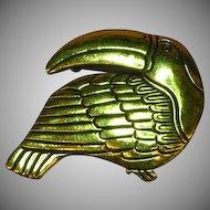 Laurel Burch Retired Toucan Gold Tone Tropical Bird Pin Brooch