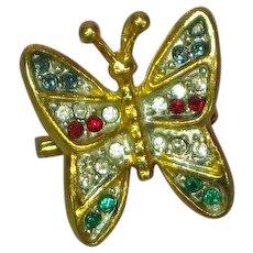 Rhinestones Butterfly Pendant Pin Brooch