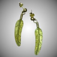 Native American Indian Hand Made Sterling Silver Eagle Feather Pierced Earrings