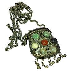 Gemstones Natural Stone Agate Medieval Renaissance Revival  Large Purse Necklace