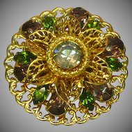 Austrian Ornate Large Four Layered Tiered Rhinestones Gold tone Pin Brooch