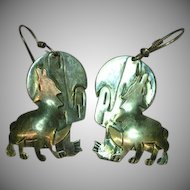 Coyote Cactus Moon Sterling Silver Hand Made Southwest 3-D Pierced Earrings
