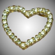 Exquisite Tilted CZ Crystal Vermeil  Heart Pendant Sterling Silver