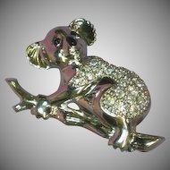 Swarovski Signed Rhinestone Encrusted  Koala Bear Silver Figural Pin Brooch