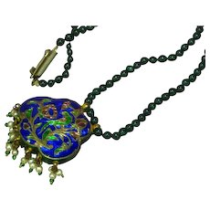 Chinese Enamel Cloisonne Jade Beads Rhinestones Reversible Pendant Necklace