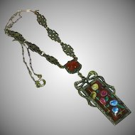 Art Deco Sterling Silver Marcasite Carnelian Art Glass Necklace