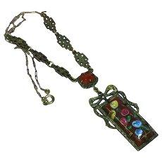 Art Deco Sterling Silver Marcasite Carnelian Art Glass Necklace