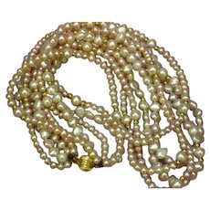 14K Gold and Vintage Genuine Cultured Pink Blush 5 Strand Pearl Necklace