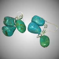 Turquoise Sterling Silver Chunk Dangle Pierced Earrings