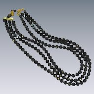 Vendome Signed Designer Black Faceted A/B Beads Three Strand Necklace