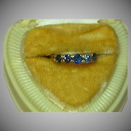 Antique 18K Gold 5 Stone Genuine Light Blue Color Change Sapphire Fine Hand Crafted Gemstone Ring.