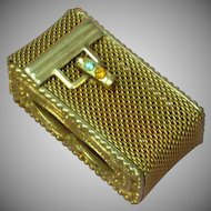 Gold Metal Mesh Rhinestone Match Pill Misc. Holder