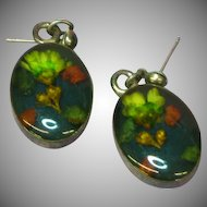Sterling Silver Pierced Straw Flowers in Cabochon Earrings
