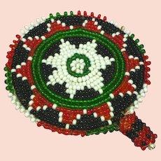 Native American Indian Beaded  Black White Green Red Hair Barrette