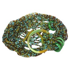 Turquoise Brown Gold Colored Seed Bead Multi 16 Strand with Jade Ring Necklace
