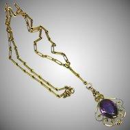 Edwardian Beautiful Vintage Gold-Filled Amethyst  Lavalier Necklace
