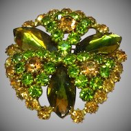 Regency Unsigned Rhinestones Gold and Green  Sensational Large Domed and Stacked Brooch Pin