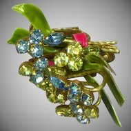 Vendome Coro Rhinestones and Enamel Screw Clip Floral Earrings