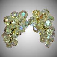 Vintage Crystal Cluster Drop Dangle  Chandelier Clip Earrings