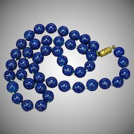"Lapis Lazuli Look Venetian Art Glass Beads 20"" Hand Knotted Necklace"