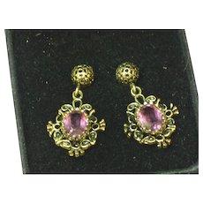 Gemstones Elegant Vintage Amethyst Pierced Drop Dangle Earrings