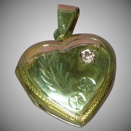 Vintage Sterling Large Heart Locket Chased Design Pink Sapphire Stone Pendant