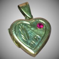 Vintage Sterling Large Heart Locket Chased Design Red Ruby Stone Pendant
