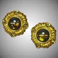Monet Gripoix Poured Glass Cabochon Spring Clip Earrings