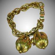 Napier Signed Designer Golden Kumquat Heavy Charm Bracelet