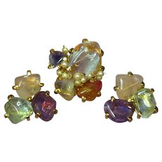 Gemstones Chunky Genuine Cultured Pearls Pin Brooch Clip Earrings Set Demi Parure