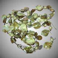 "Shell Beautiful Faux Pearl Long Dangle Colorful 30"" Necklace Pierced Earrings Set Demi Parure"