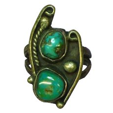 Native American Indian Sterling Silver Turquoise Old Pawn Ring
