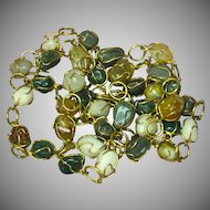 """Vintage  Agates Mixed Gold Tone Wired Caged Necklace 32"""" Long Chain Necklace"""