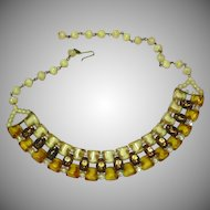 SALE!!  West Germany Clean and Exquisite Givre Opalescent ALL GLASS Beaded Necklace