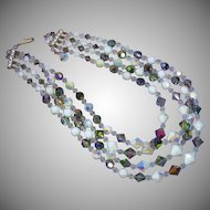 Beautiful Iridescent White and Vitrail Crystal Vendome Style 4 Strand Necklace