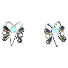 Zuni Inlay Onyx Sleeping Beauty Turquoise  Sterling Silver Pierced Earrings