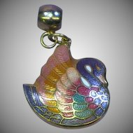 Swan Pendant Cloisonne Guilloche Enamel  Peach Teal White Soft Colors