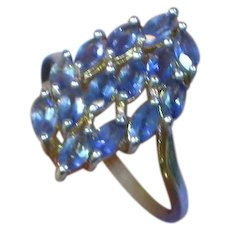 Vintage Sterling Silver Gorgeous Tanzanite Fancy Cluster Bold Ring
