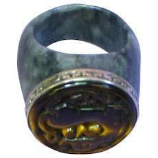 Chinese Manly Sterling Silver Carved Tiger Eye Jade Ring