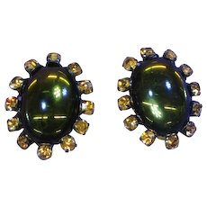 Jay Strongwater Signed Glowing Jelly Opal Cabochon and Rhinestone Clip Earrings
