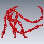 Czech Lipstick Red Glass Beads  C1930 Necklace