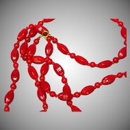 "Czech Lipstick Red Glass Beads  C1930 32"" Necklace"