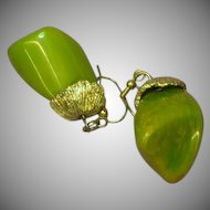 Bakelite Chunky Marbled Green & Yellow Dangle Pierced Earrings
