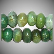 "Carved Green Moss Agate Rondell Agate Beads 20"" Necklace"