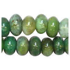 Hand Rounded Green Moss Agate Rondell Agate Beads  Necklace