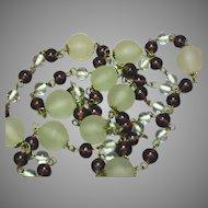 Art Deco Chain Link Glass Flapper Endless Necklace