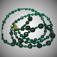 "Crystal Deep Green 34"" Necklace Pierced Earrings Set Demi Parure"