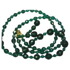 """Crystal Deep Green 34"""" Necklace Pierced Earrings Set Demi Parure"""