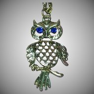 "Articulated Owl Silver- tone on 28"" Chain Necklace"