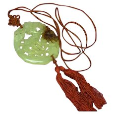 Carved Pale Yellow Green Rust Jade Amulet Pendant Brown Silk Cord Necklace